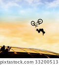 Extrem Sport. Silhouette of young man doing jump 33200513
