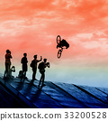 Silhouette, trampoline, biker 33200528
