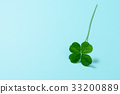 화려한 네 잎 클로버 밝은 녹색 배경 소재 33200889