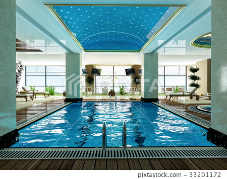 Indoor Swimming Pool Design Idea Stock Photo 33201172 Pixta