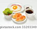 아침 식사의 크로와상과 커피, 계란 후라이, 하무소테 미니 샐러드, 요구르트. ※ 김은 합성. 33203340