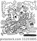 breakfast, doodle, vector 33203895