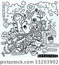 breakfast, doodle, vector 33203902