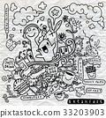 breakfast, doodle, vector 33203903