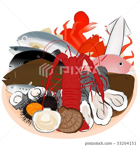 海鮮 海產品 動畫的 33204151