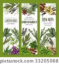 Herb and spice, fresh garden food sketch banner 33205068