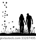 Couple on meadow, black silhouette 33207495