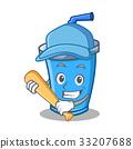 Playing baseball soda drink character cartoon 33207688