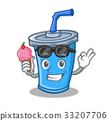 soda drink character cartoon with ice cream 33207706