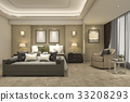 luxury modern bedroom suite in hotel and resort 33208293