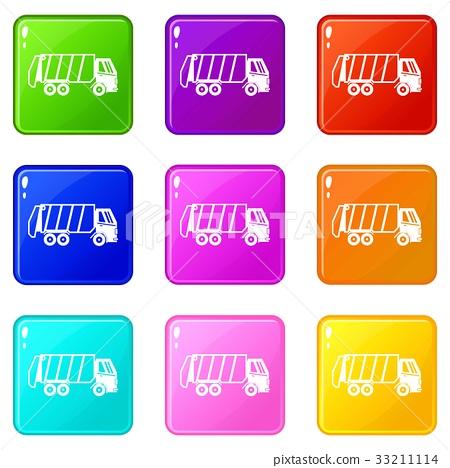 Garbage truck icons 9 set 33211114
