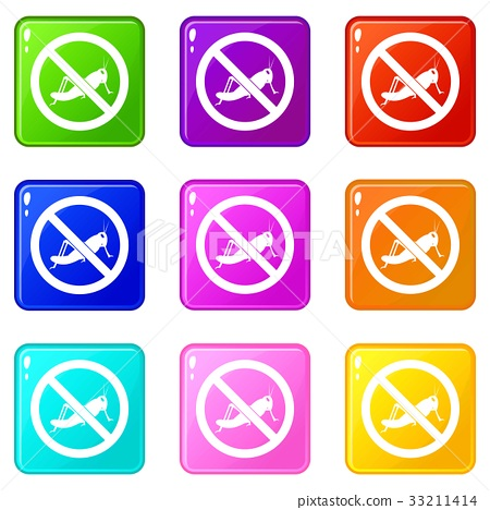 No locust sign icons 9 set 33211414