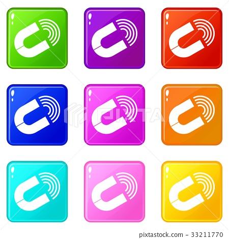 Horseshoe magnet icons 9 set 33211770