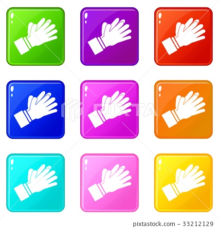 Clapping applauding hands icons 9 set 33212129