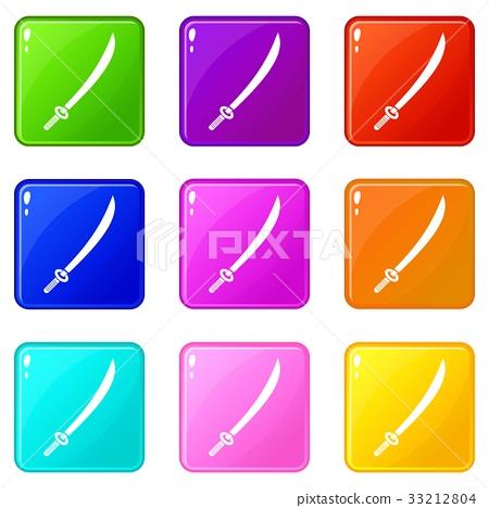 Katana icons 9 set 33212804