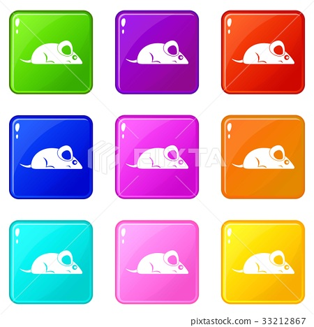 Pet mouse icons 9 set 33212867