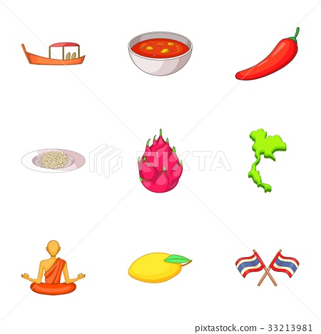 Thailand day icons set, cartoon style 33213981