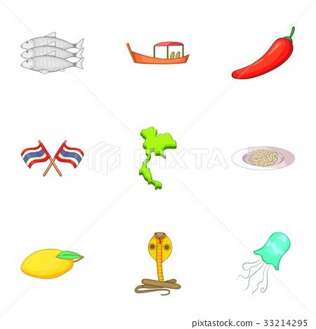 Thailand icons set, cartoon style 33214295