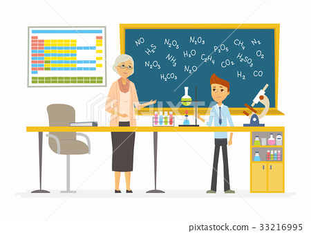 Chemistry lesson - modern cartoon people 33216995
