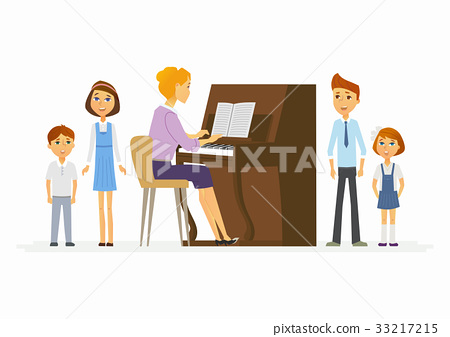 Music lesson at school - modern cartoon people 33217215