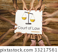 Hands holding banner of justice scale rights and law illustration 33217561