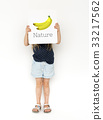 Little girl holding banner of fresh organic delicious banana illustration 33217562