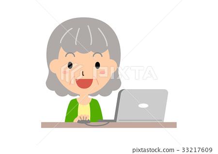 老人 成熟的女人 一個年輕成年女性 33217609