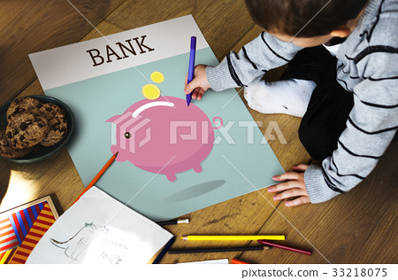 Piggy Bank Money Savings Future Investment Word Graphic 33218075