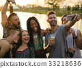 Group of Diverse Friends Enjoying Taking Selfie Photo at Live Music Concert Festival 33218636