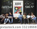 Group of people listening to leisure music activity 33218668