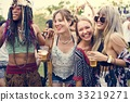 Group of Friends Drinking Beers Enjoying Music Festival Together 33219271