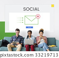 Group of people using digial devices with email icon 33219713