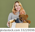 Woman Studio Portriat Casual Carrying a Box Isolated 33220096