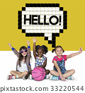 Kids Say Hello Hi Greeting Speech Bubble Graphic 33220544