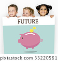 Piggy Bank Money Savings Future Investment Word Graphic 33220591