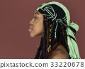 African Woman Bare Chest Side View Studio Portrait 33220678