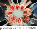 Group of hands holding red ribbon stop drugs and HIV/AIDS awareness 33220691