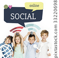 Children holding banner network graphic overlay background 33220698