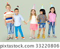 Diverse Group Of Kids Standing in a Row in Festive Hat Party 33220806