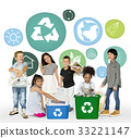 Little Kids with Recycle Sign Eco Friendly Save Earth Word Graphic 33221147