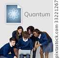 Students working network graphic overlay banner on wall 33221267