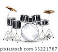 real black drum set on a white background 33221767
