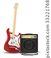 real red electric guitar with guitar amplifier 33221768