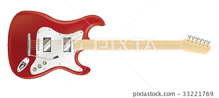 real red electric guitar on a white background 33221769