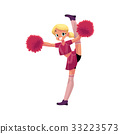 vector smiling cheerleader dancing with pom-poms 33223573