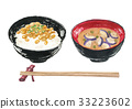 natto on rice, natto, fermented soybeans 33223602