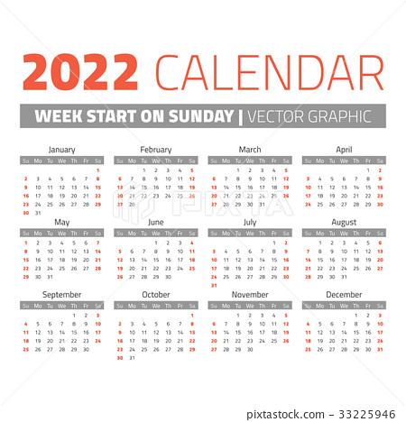 Simple 2022 year calendar 33225946