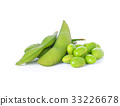 Green soybeans on white background 33226678