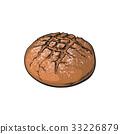 vector sketch dark brown round bread isolated 33226879