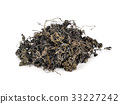 Heap of dried green tea on white background 33227242